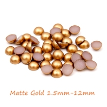 New Matte Gold Half Round Pearls 1.5mm-12mm Imitation Machine Cut Flatback Glue On Resin Beads DIY Jewelry Making Nail Art Phone(China)