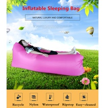 230*72cm super long inflatable air sofa Lazy bag Air Sleeping Bag Camping Beach Bed Air Hammock Nylon Banana Sofa lazy Lounger
