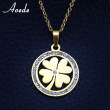 Gold Four Leaf Clover Necklace Crystal Rhinestones Necklaces & Pendants For Women Fashion Jewelry Elegant Women Gift collares(China)