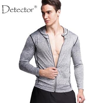 Detector de deportes de manga larga para hombre camisa cremallera reflectante de baloncesto de fitness mallas para correr transpirable de secado rápido tops stretch