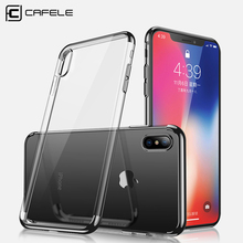 Cafele Plating Edge TPU Case for iPhone X Soft TPU Transparent Case Cover for iPhone X [Non Paint-shedding](China)