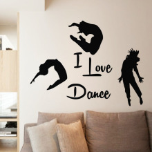 EHome I Love Dance Wall Stickers Home Decor Three Dancers Wall Murals Adhesive Vinyl Wall Decals Bedroom Decoration(China)