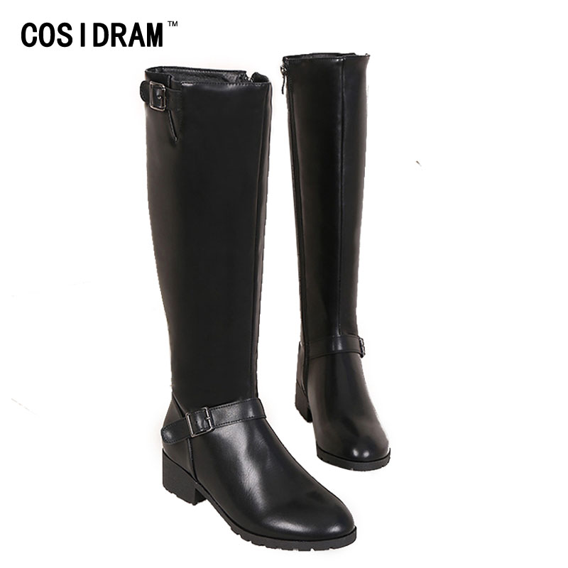 2017 Winter Motorcycle Boots Casual PU Leather Knee-High Zip Women Boots Martin Fashion Classical Booties Female Shoes SNE-204<br><br>Aliexpress