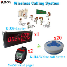 Wireless Paging System 100% Original Transmitter Peceiver Waiter Pager For Restaurant (1 display 2 wrist watch 20 call button)(China)