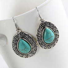 Min. order 9usd (can mix) Vintage Plating Silver Earring Ethnic Style Alloy Drop Earrings for Women(China)