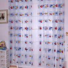 1M*2M Children Car Pattern Drape Panel Sheer Scarf Door Room Window Curtains