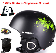 Moon  skiing helmet autumn and winter adult male ladies monoboard skiing flanchard equipment Snow Sports Cheap Helmets 3 gifts