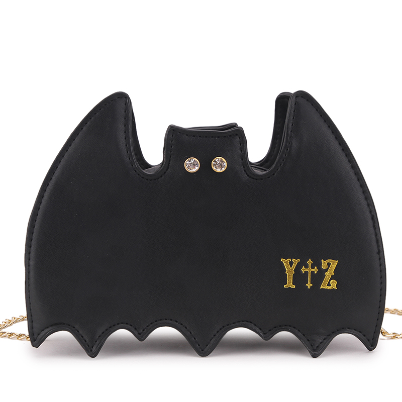 PU black bat messenger bag special handbag  party bag super cool style chain bag diamond letter Day clutches<br><br>Aliexpress