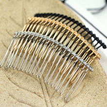 10pc/lot 37*78mm Black / KC Gold /Rhodium 20 Teeth Wedding Bridal DIY Wire Metal Hair Comb Clips Hair Findings Accessories Y971