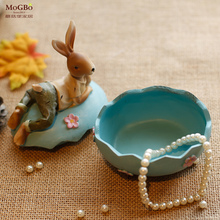 Easter decorations for home America Pastoral Resin Rabbit Jewellery box Nostalgia Gift Kid Toys Bedroom Office Decorate Crafts