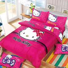 Cartoon Fashion Luxury 3D Purple Hello kitty 3/4pcs Child Cartoon Pattern Bedding set include duvet cover bed sheet pillowcase