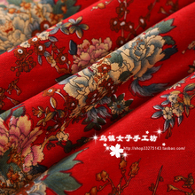 (50 cm/lot) linen/cotton printing fabric peony flowers imitation wax curtain table cloth ethnic fabric zakka patchwork fabric(China)