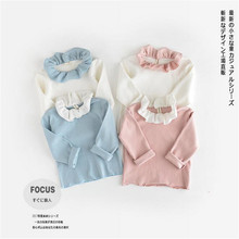 Baby Girls T Shirts Spring Autumn Tee shirt Cotton for Children Kids Cute Lotus Collar Baby Tops Infant Tee Girls Top Shirts 0-3