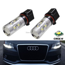 2x No Errors Xenon White 50W P13W Q5 LED Bulbs DRL For 2008-12 Audi B8 model A4 or S4 with halogen headlight trims