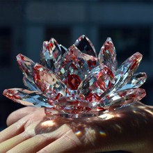 Artificial 140mm Red Crystal Glass Lotus Feng shui paperweight Stone Home Wedding Decoration Party Art&collection Miniatures