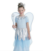 Shanghai Story children girl blue silver fairy tinkerbell dress with wing cosplay party maiden Princess costume
