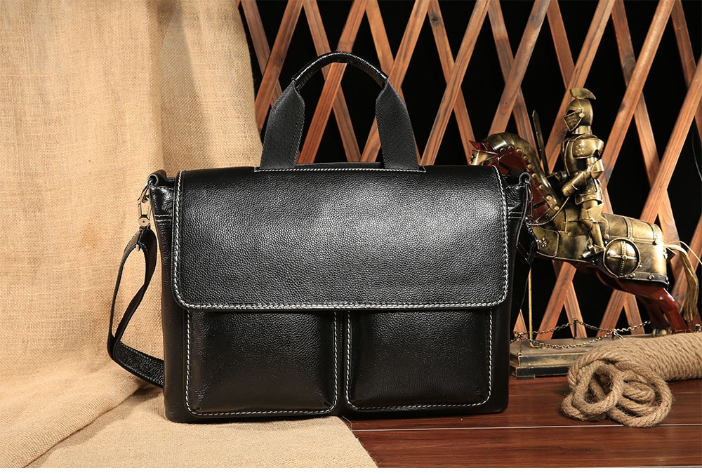 JOYIR Genuine Leather Men's Briefcase Vintage Men Bag business brief case male single shoulder Computer Laptop Bags portfolio