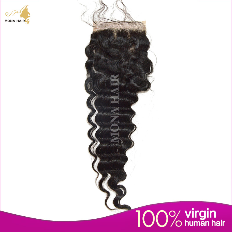 7A Virgin Brazilian Lace Closure 4x4 Brazilian Deep Wave Human Hair Closure With Bleached Knots Free Middle 3 Part Closures<br><br>Aliexpress