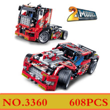 Decool 608pcs Race Truck Car 2 In 1 Transformable Model Building Block Sets DIY Toys Technic 42041 Toys For Children Gifts XD190(China)