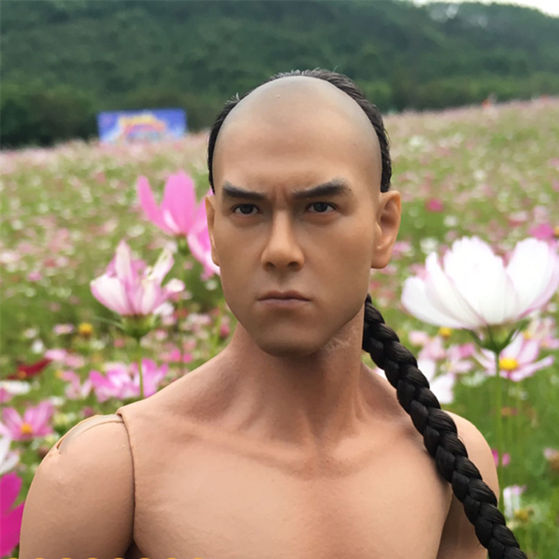 Mnotht 1/6 Asian Famous Star Head Carved Eddie Peng Yuyan implanted hair headplay Two style Custom l30(China (Mainland))