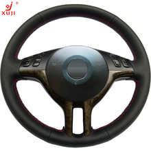 XUJI Black Leather Hand-stitched Car Steering Wheel Cover for BMW E39 E46 325i E53 X5(China)