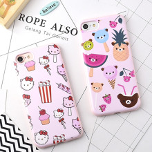 New Candy Soft Cellphone Cases For iPhone 6 6G 6S 6Plus 7 7Plus 5.5 Pink Cartoon Hello Kitty Pineapple Cartoon Rubber TPU Cover