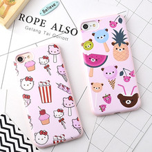 New Candy Soft Cellphone Cases For iPhone 6 6G 6S 6Plus 7 7Plus 5.5 Pink Cartoon Hello Kitty Pineapple Cartoon Rubber TPU Cover(China)