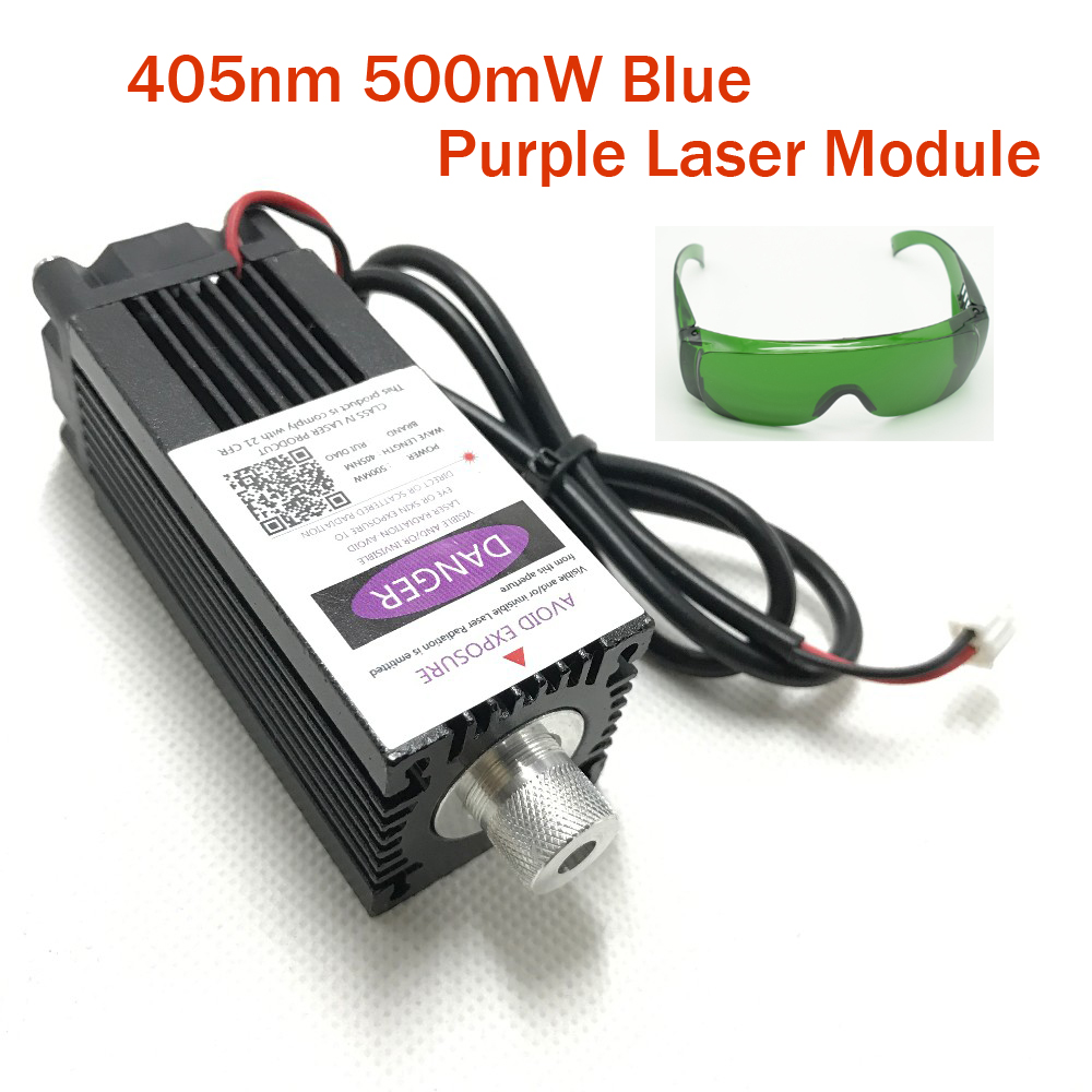 405nm 500mw Focusable Blue Purple Laser Module Engraving Laser Tube Diode hx2.54 2p Port with Protective Googles<br>