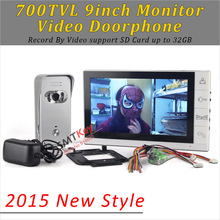 2015 New Style 700TVL Color Video Doorphone 9 inch monitor intercom System Video record support SD Card