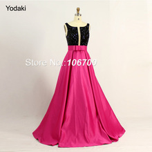 Real Photo Two Tone Ballgown Formal Evening Dresses Black Crystal Boat Neck Deep V Open Back with Sash Long Pageant Prom Gowns(China)