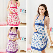 New 2017 Convenient Women's Waterproof Housewife Kitchen Waist Aprons Jeanette Floral(China)