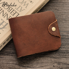 High Quality Men Genuine Leather Wallet Short Trifold Oil Waxing Leather Purse Vintage Buckle Card Holder Carteira Masculina 004
