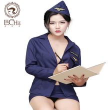 Buy 2017 latex Q711 Leechee sexy lingerie blue fashion office lady suit cosplay police uniform XXO hot shirt+skirt porn costumes