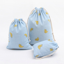 Doreen Box Blue Linen Banana Drawstring Storage Bags for Sundries Travel Pouch Organizer Gift Bags 1PC(China)