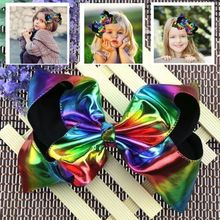 Cute Large 8 Inch Rainbow Leather Kids Hairpins Headwear Big Hair Clips With Ribbon Bows For Girls Babies Children Accessories(China)