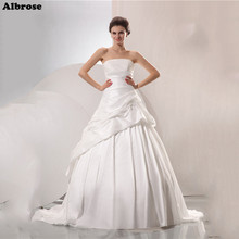Sexy Strapless Wedding Dress Elegant Wedding Dresses Long Taffeta Draped Bridal Gowns Cheap Ball Gown Lace Up vestido de noiva(China)