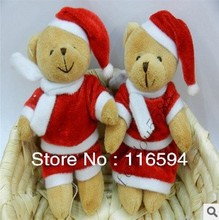 Christmas Gifts! 12CM Lovers Plush Christmas Teddy Bear MiNi toys pendant/decorations/wedding gifts