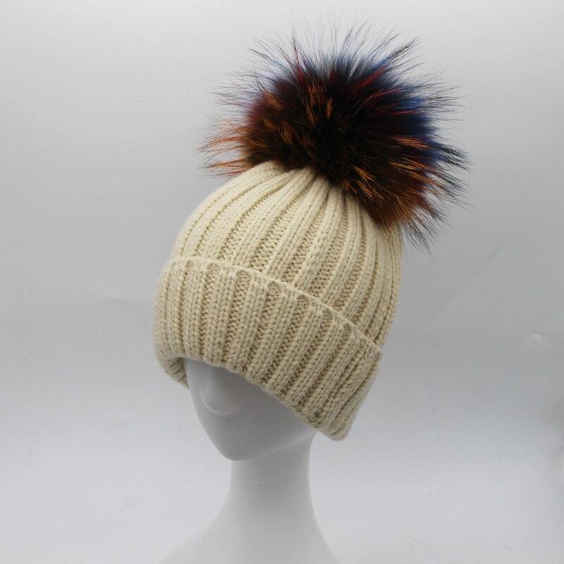 2017 Fashion Colours Ball Fur Pom poms Hat Women100% Raccoon Fur Hats Winter Beanies Thicken Female SkulliesОдежда и ак�е��уары<br><br><br>Aliexpress
