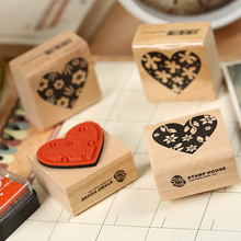 1 x Loving Heart stamp DIY wooden rubber stamps for scrapbooking stationery scrapbooking standard stamp(China)