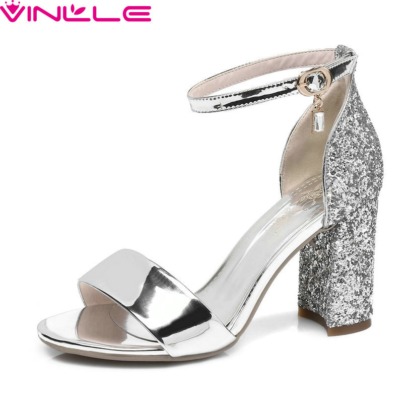 VINLLE 2017 Women Pumps Sequins Simple and Fashion Style Buckle Strap PU Leather Square High Heel Shoes Ladies Shoes Size 34-43<br>