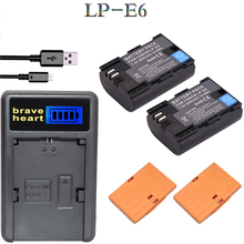 2x bateria LP-E6 LPE6 LP E6 Camera Battery + Charger For Canon DSLR EOS 5D Mark II Mark III 60D 60Da 7D 70D 6D camera accessory