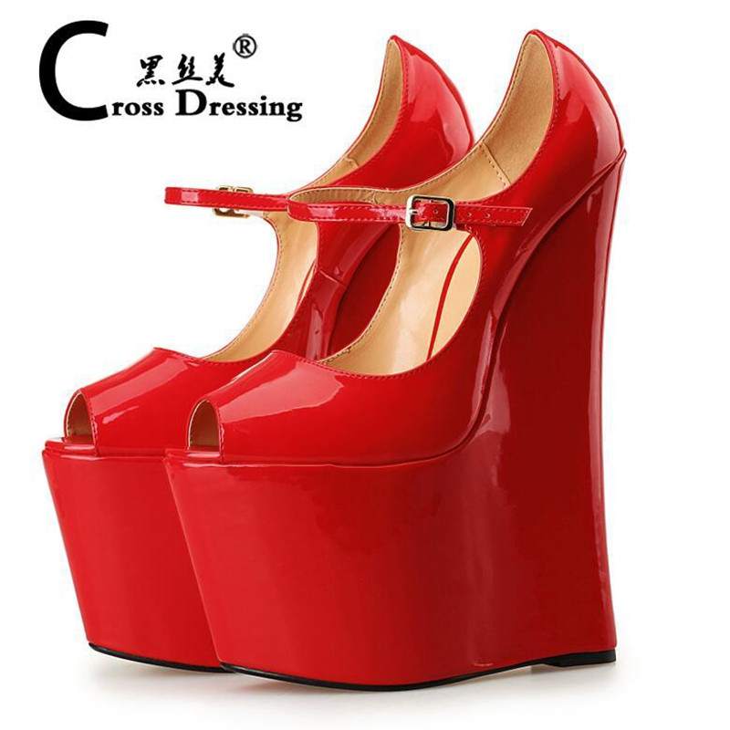 Plus Size Platform Extreme High Heels Women Wedges Shoes Fetish High Heels Mary Jane Shoes Sexy Peep Toe Pumps Wedding Shoes<br><br>Aliexpress