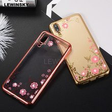 Rhinestones Soft Plating Case For Huawei P20 P8 P9 P10 Lite On Honor 10 6A 9  Lite 7C 7A Play P smart Y9 2018 Mate Silicone Case 9efdffd9abab