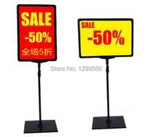 5 Sets free shipping supermaket pop advertising poster display stand rack A4 frame price tag sign Promotions card showing holder