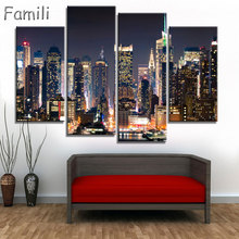 4pcs Modular Poster Board No Framed Canvas Oil Painting New York Manhattan Pictures City Landscape Wall Art For Living Room(China)