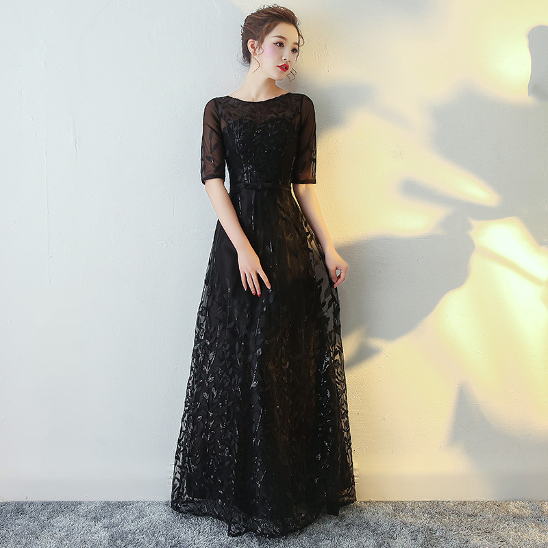 Chinese Women Novelty Qipao Elegant Lady Black O-neck Bridesmaid Wedding Dress Classic Female Lace Stage Show Cheongsam Vestidos