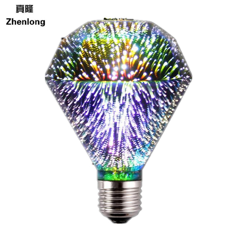 Diamond lights 3D colorful light bulbs firework light e27 bulb led energy saving lamp 3d bulb 3.5w light bulb e27 led smd 2835<br>