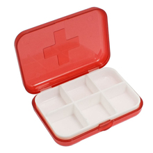 Cross Marked 6 Rooms Medicine Pill Storage Case Box Clear Red(China)