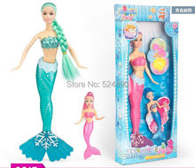Mermaid Princess Doll Set / 2015 New Design Green & Pink & Blue Colors Baby Toy For Barbie Doll Girls Birthday Gift(China)
