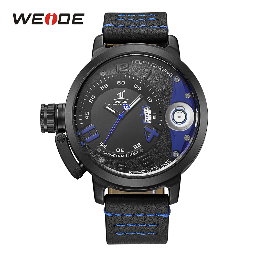 WEIDE Mens Casual Sport Auto Date Calendar Japan Quartz Movement Analog Black Leather Strap Buckle Watch Wristwatches For Man<br>